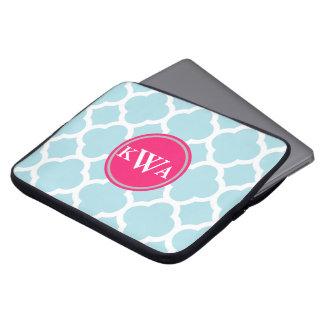 Powder Blue Quatrefoil Fancy Label Monogram Laptop Sleeve
