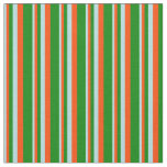 [ Thumbnail: Powder Blue, Red & Green Colored Stripes Fabric ]