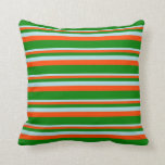 [ Thumbnail: Powder Blue, Red & Green Colored Stripes Pillow ]