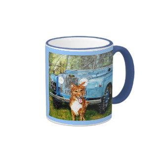 "Powder Blue Ringer Mug :""Farmer's Friends"