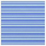 [ Thumbnail: Powder Blue & Royal Blue Lines Pattern Fabric ]