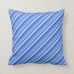 [ Thumbnail: Powder Blue & Royal Blue Lines Pattern Pillow ]