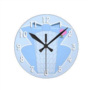 Powder Blue Ruffled Tuxedo Round Clock