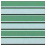 [ Thumbnail: Powder Blue, Sea Green & Black Colored Stripes Fabric ]