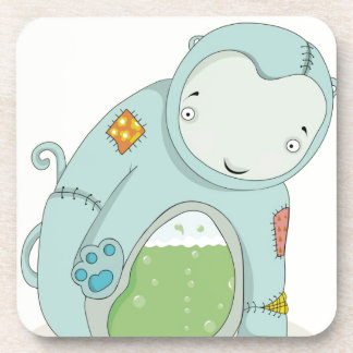 Powder blue strange water bear beverage coaster