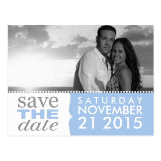Powder Blue Sweet Beginnings Save the Date Photo Postcard