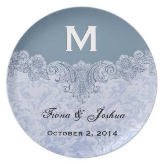 Powder Blue Vintage Monogram Wedding Favor V13 Plate