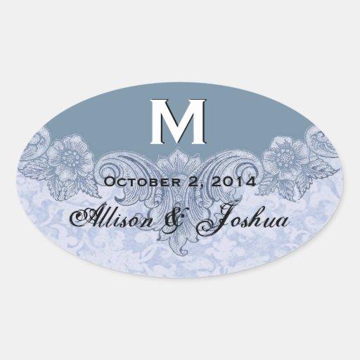 Powder Blue Vintage Wedding Names Date V6 Oval Sticker