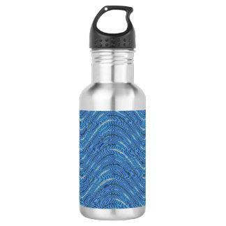 Powder blue wave background water bottle