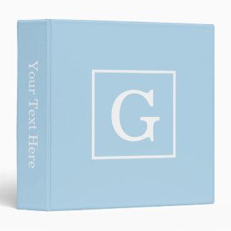 Powder Blue White Framed Initial Monogram Binder