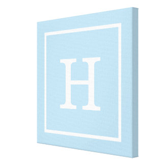 Powder Blue White Framed Initial Monogram Canvas Print