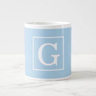 Powder Blue White Framed Initial Monogram Giant Coffee Mug