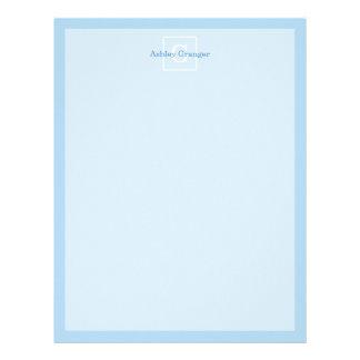 Powder Blue White Framed Initial Monogram Letterhead