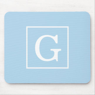 Powder Blue White Framed Initial Monogram Mouse Pad