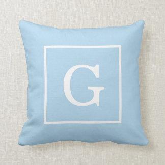 Powder Blue White Framed Initial Monogram Throw Pillows