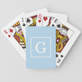 Powder Blue White Framed Initial Monogram Playing Cards
