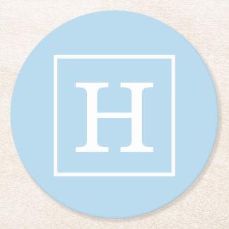 Powder Blue White Framed Initial Monogram Round Paper Coaster