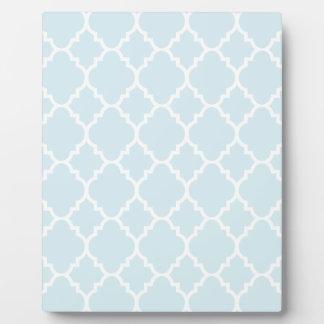 Powder Blue White Quatrefoil Moroccan Pattern Plaque
