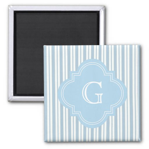 Powder Blue White Stripe #2 Lt Blue Label Monogram Refrigerator Magnet