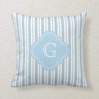 Powder Blue White Stripe #2 Lt Blue Label Monogram Pillow