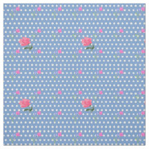 Powder Blue with Dots and Flowers Fabric
