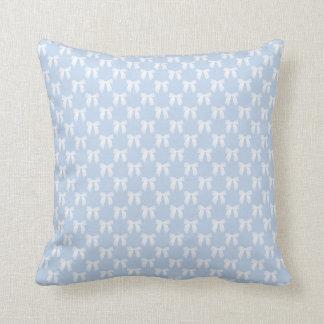 Powder Blue With White Bows Throw Pillows
