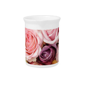 Powder colored roses by Therosegarden Beverage Pitcher