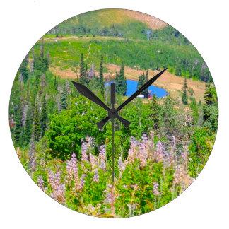 Powder Mountain Summertime: Hidden Lake Large Clock