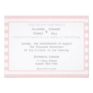 Powder Pastel Pink Stripes Wedding Invitation