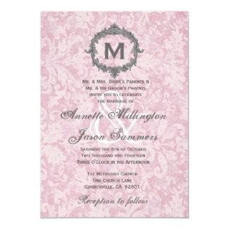 Powder Pink 2 Damask Vintage Monogram Wedding Card