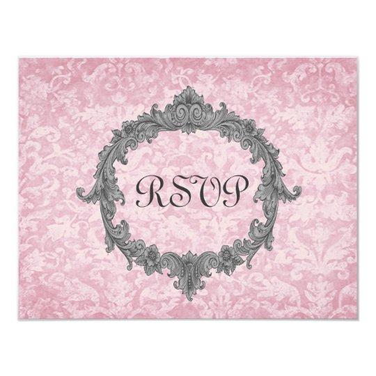 Powder Pink 2 Damask Vintage RSVP Wedding Response Card