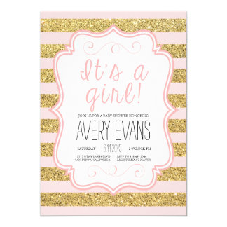 Powder Pink and Gold Glitter Stripes It's a Girl Card