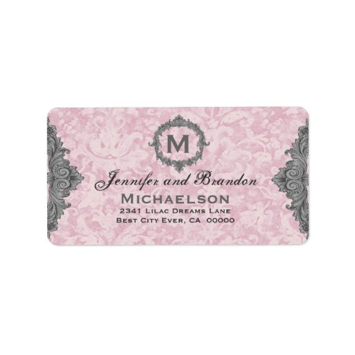 Powder Pink and Gray Vintage Monogram Personalized Address Label