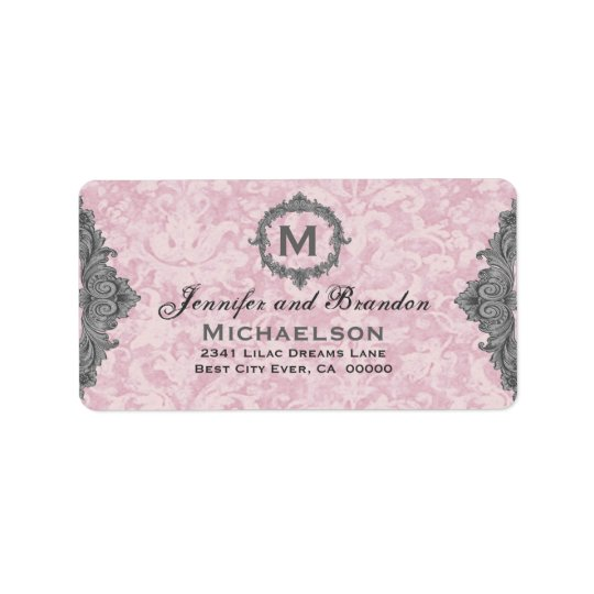 Powder Pink and Gray Vintage Monogram Personalized Label