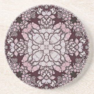 Powder Pink Black Abstract Sandstone Coaster