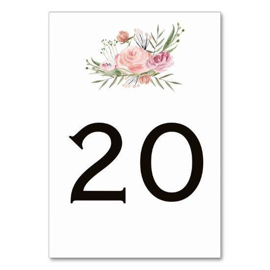 Powder Pink Blush Gold Greenery Table Cards
