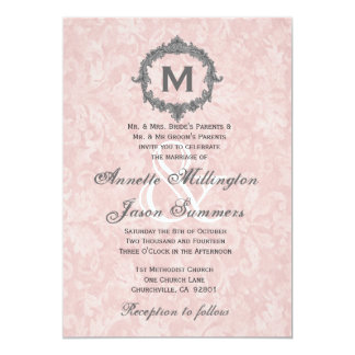 Powder Pink Damask Silver Vintage Monogram Wedding 5x7 Paper Invitation Card