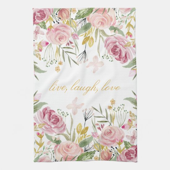 Powder Pink Gold Green Watercolor Roses Towel