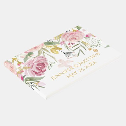 Powder Pink Gold Watercolor Roses Guest Book