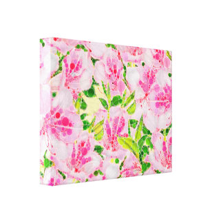 Powder Pink Green Abstract Flowera Canvas Print