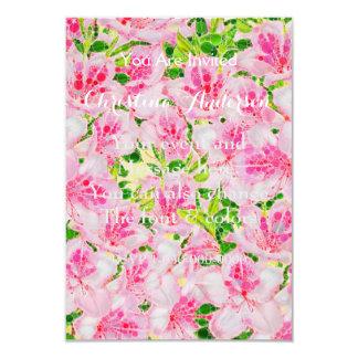 Powder Pink Green Abstract Flowera Card