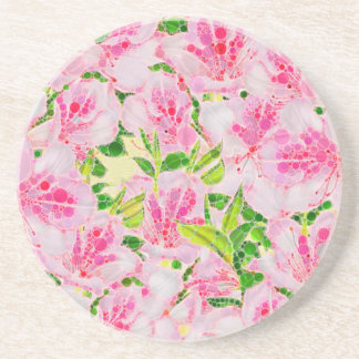 Powder Pink Green Abstract Flowera Drink Coaster