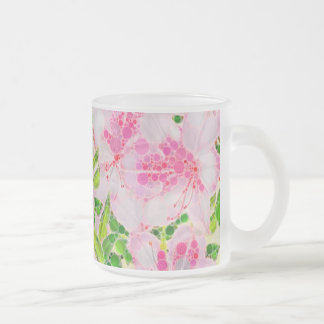 Powder Pink Green Abstract Flowera Frosted Glass Coffee Mug