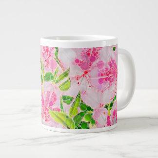 Powder Pink Green Abstract Flowera Giant Coffee Mug