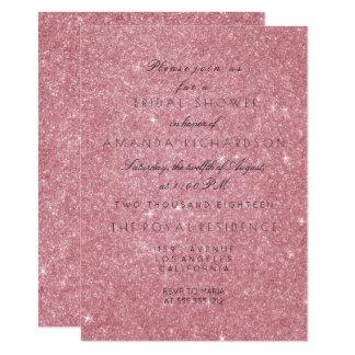 Powder Pink Rose Glitter Black White Bridal Shower Card