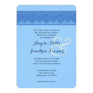 Powder Puff Blue Damask Wedding Template V27