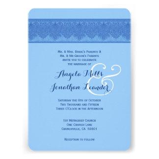 Powder Puff Blue Damask Wedding Template V27 Custom Invite
