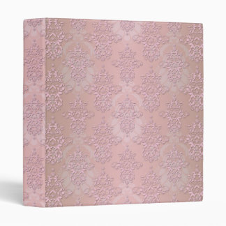 Powder Puff Pink Girly Damask 3 Ring Binder