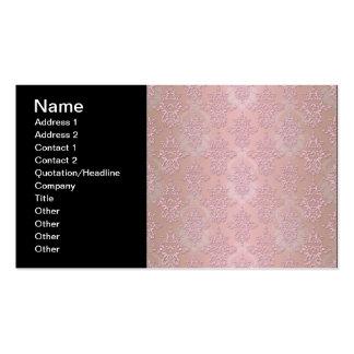 Powder Puff Pink Girly Damask Business Card