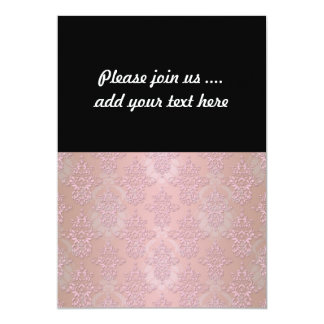 Powder Puff Pink Girly Damask Card